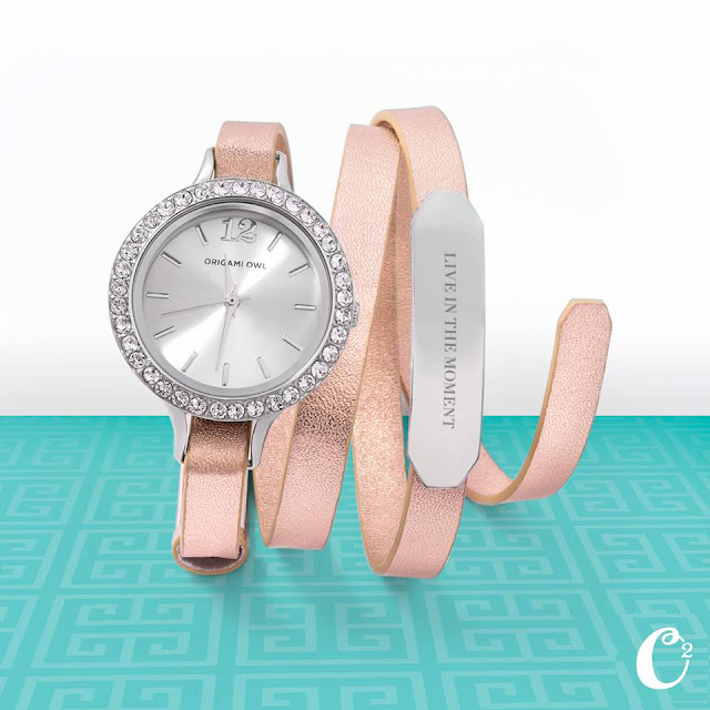 Origami Owl Twist Watch on Rose Gold Leather Wrap Bracelet available at StoriedCharms.origamiowl.com