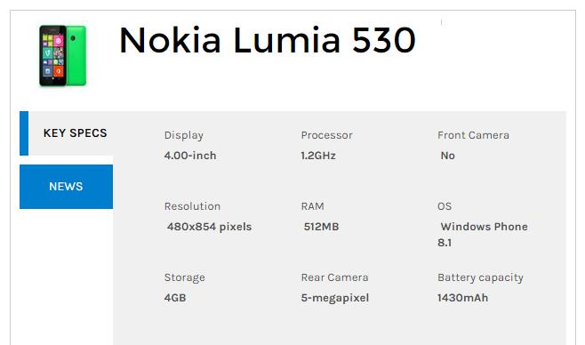 Nokia Lumia 530 (Dual Sim) Specifications
