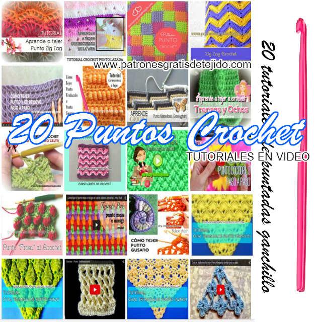 20 Puntos o Puntadas Crochet / Paso a paso en video ~ Colección ...