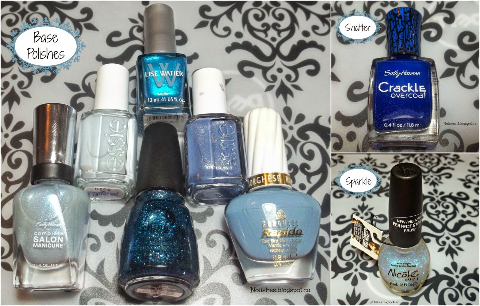 Sally Hansen Crackle Overcoat 'Distressed Denim', Sally Hansen Complete Salon Manicure 'Tulle Kit', Essie 'Borrowed & Blue', Essie 'Smooth Sailing', Lise Watier 'Blue-tiful', Borghese Rapido 'Capriccio Blue', China Glaze 'Water You Waiting For', and Nicole by OPI 'Top of My World'