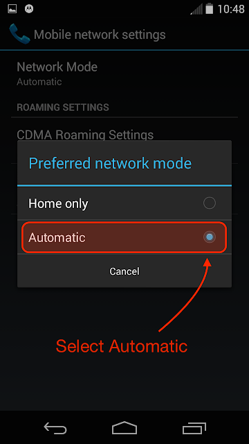 Change Network Mode to Automatic
