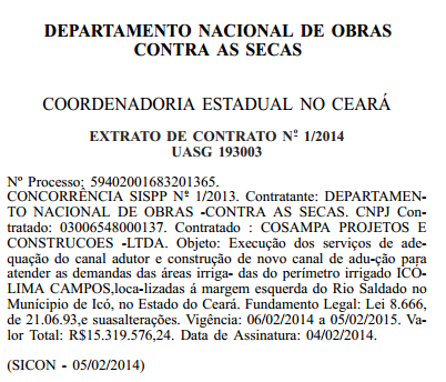 DIÁRIO OFICIAL PUBLICA CONTRATO DA OBRA CANAL DE ADUÇÃO DO PERÍMETRO ICÓ - LIMA CAMPOS