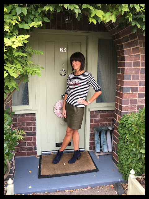 My Midlife Fashion, Stripes, Breton, Faux Leather, Zara A Line Skirt, Slogan Jumper,  Boden Boho Boots