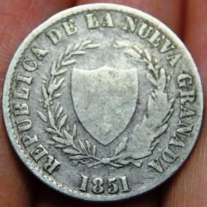 MONEDA REPUBLICA DE LA NUEVA GRANDA 2 REALES 1851-VENDIDA
