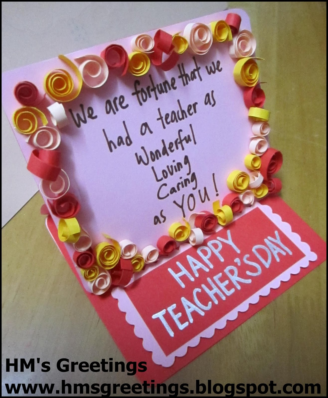Teachers Day Card Making Ideas Part - 44: HMs Greetings: Teachers Day Card #1