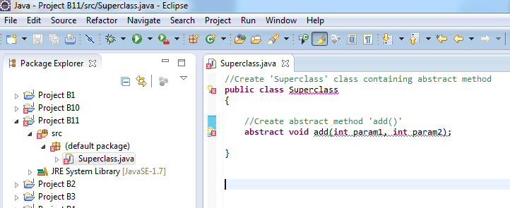 how to create a subclass in java