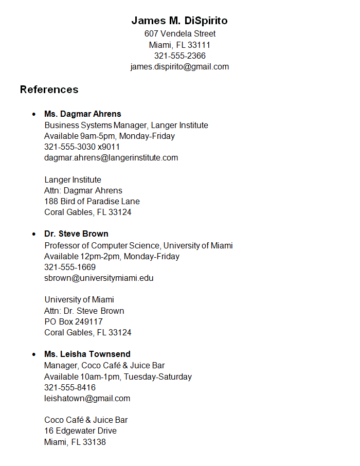 example of reference list for research paper – Template for Reference Page