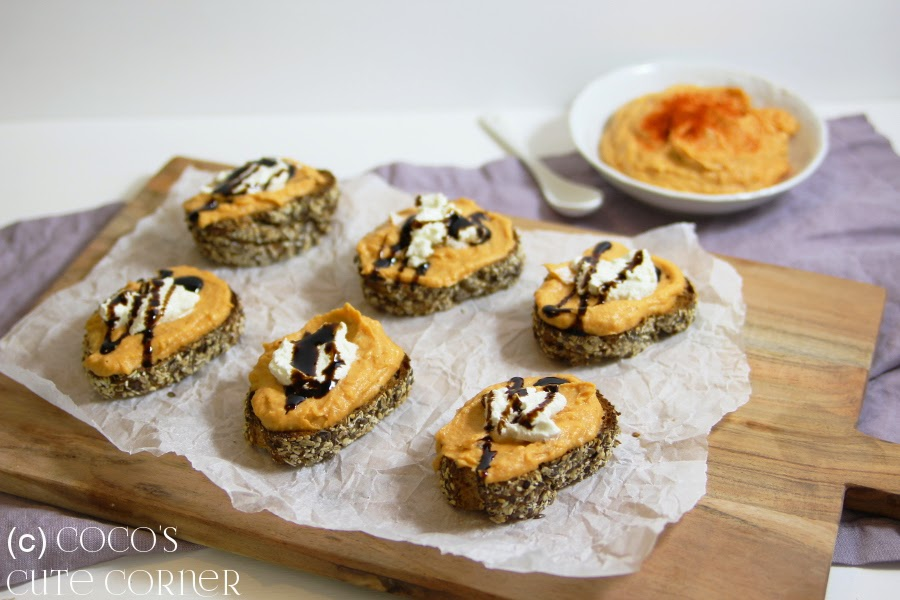 Crostini with Sweet Patatoe Humus and Ricotta
