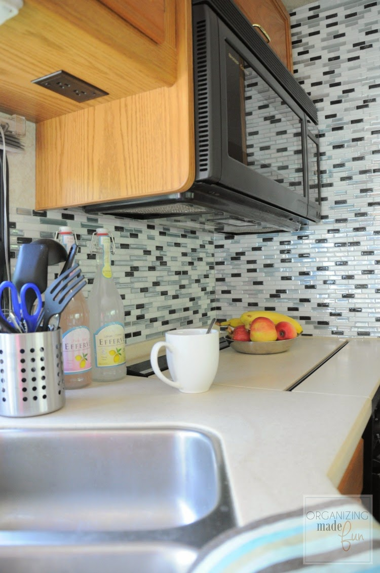"RV kitchen updated with self adhesive ""tiles"" :: OrganizingMadeFun.com"