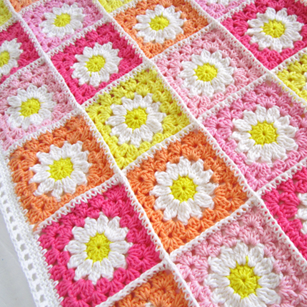 Crochet Daisy Flower Square Blanket Tutorial