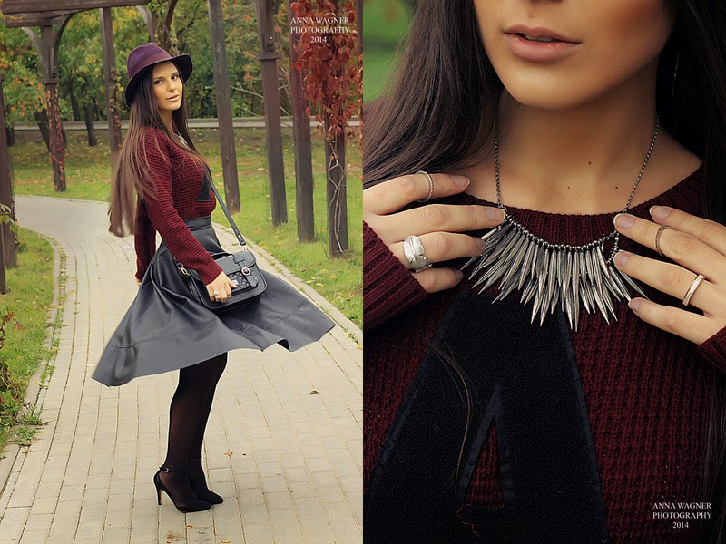 ootd, crop sweater, burgundy hat, silver jewelry