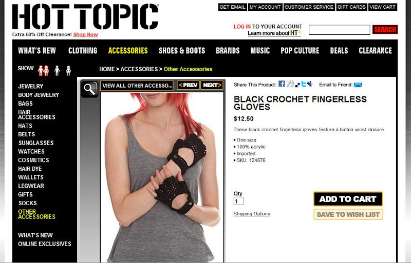 gloves, by Hot Topic