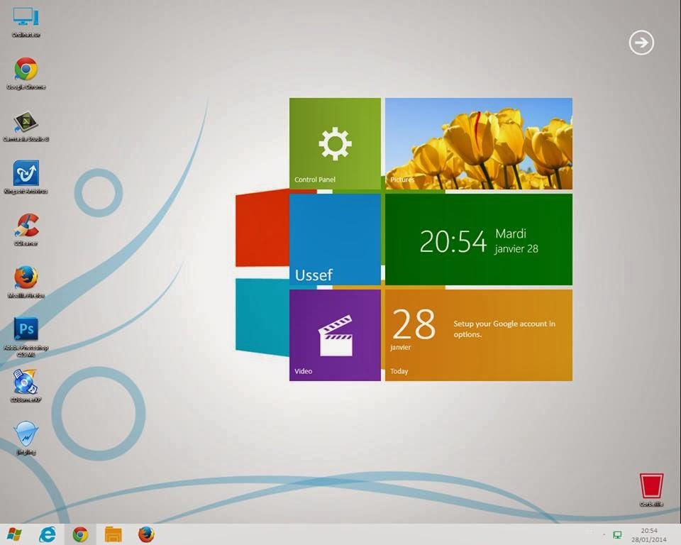 شرح تحويل شكل ويندوز 7 إلى ويندوز 9 الجديد 2014