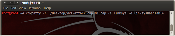 Command to crack using Cowpatty.