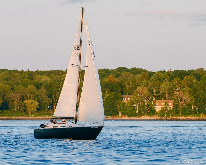 Sailboat between South Portland and Cushing Island in Portland. July 2015. Photo by Corey Templeton.