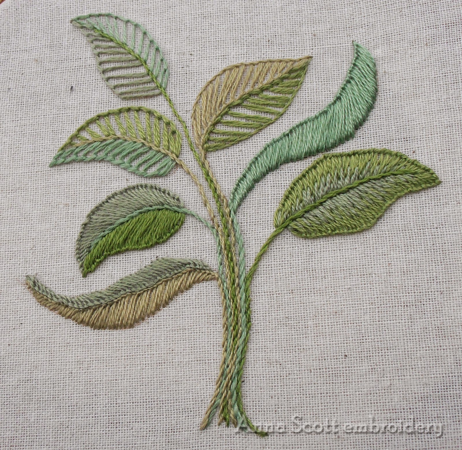 Anna scott blanket stitch leaves part two