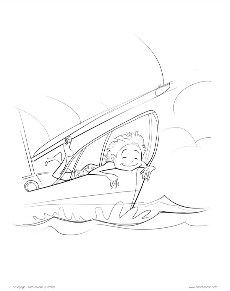 J'habite sur un bateau. Dessin de Yves Demers. © Anna Manikowska.