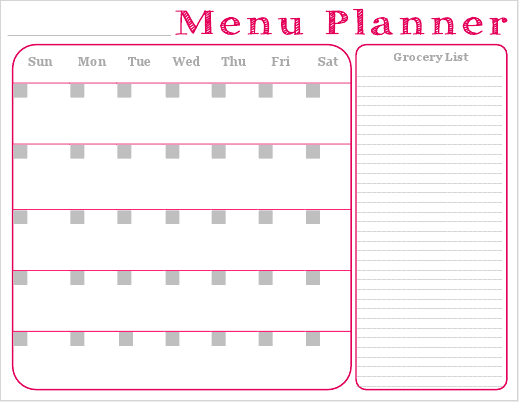 ... Homemaker: Free Printable - Monthly Menu Planner with Grocery List