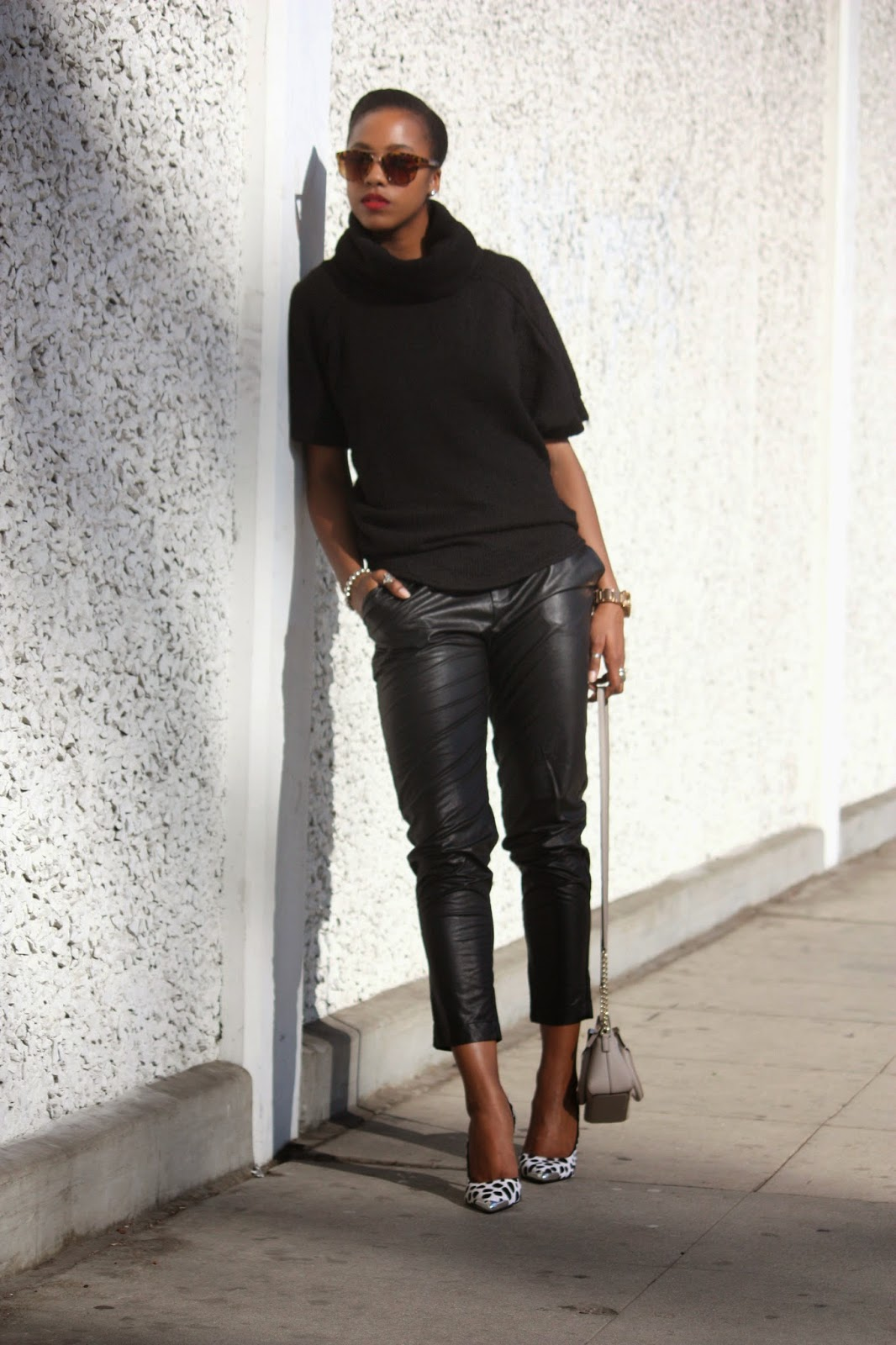 Outfit Details, Tobi Cowl Neck Sweater Piper Project faux leather pants Guess pointed toe pumps Kate Spade New York bag