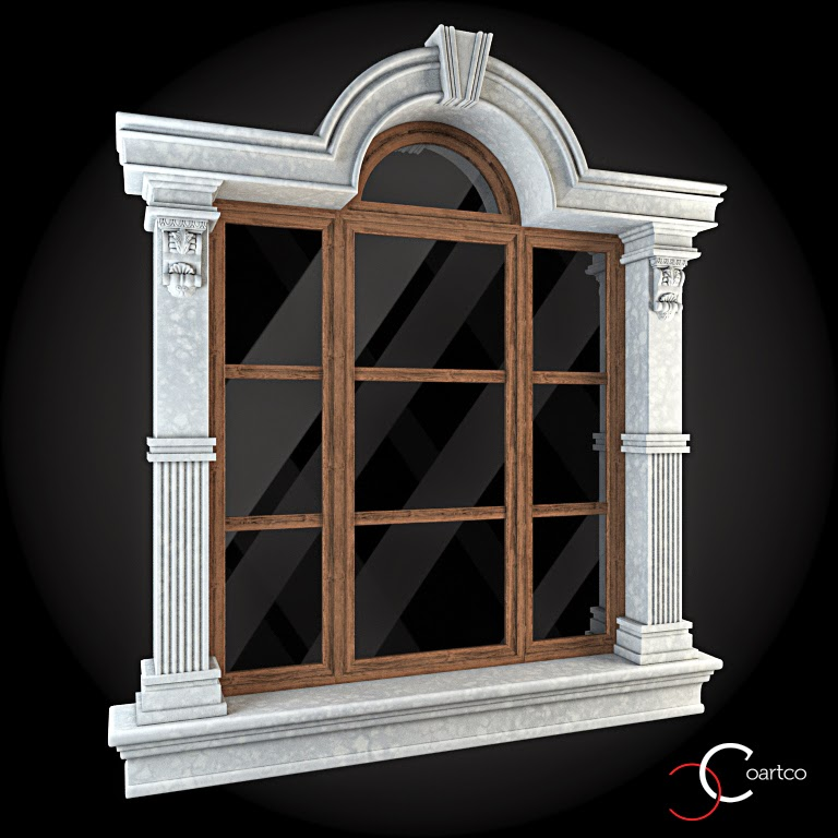 Ornamente Geamuri Exterior, fatade case cu profile decorative polistiren, profile fatada,  Model Cod: WIN-068