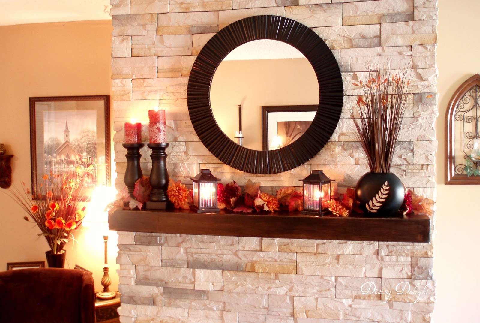 Dining Delight Fall Mantel Fireplace Makeover