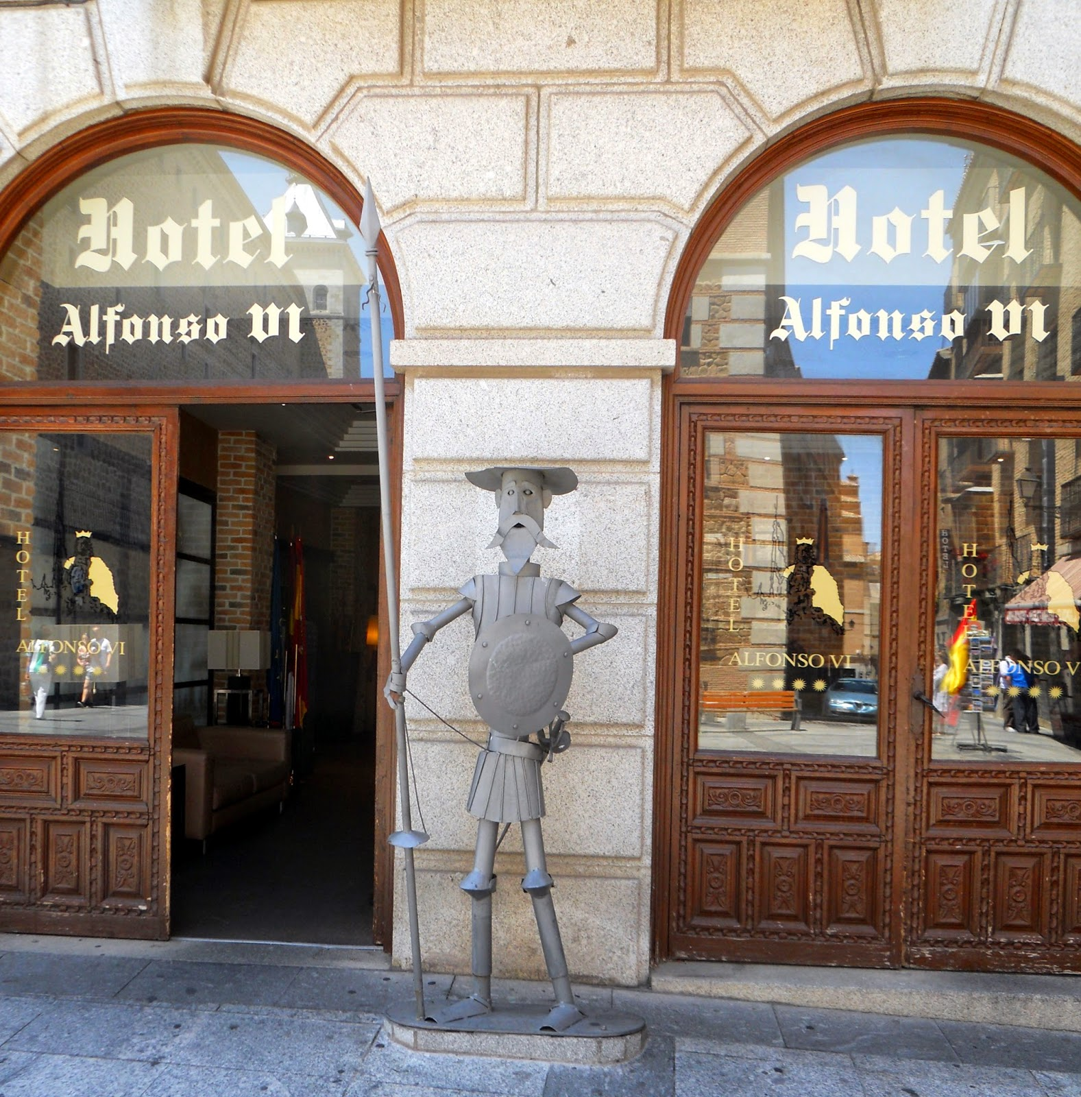 A metal sculpture of Don Quixote at the entrance to the Hotel Alfonso VI, Toledo