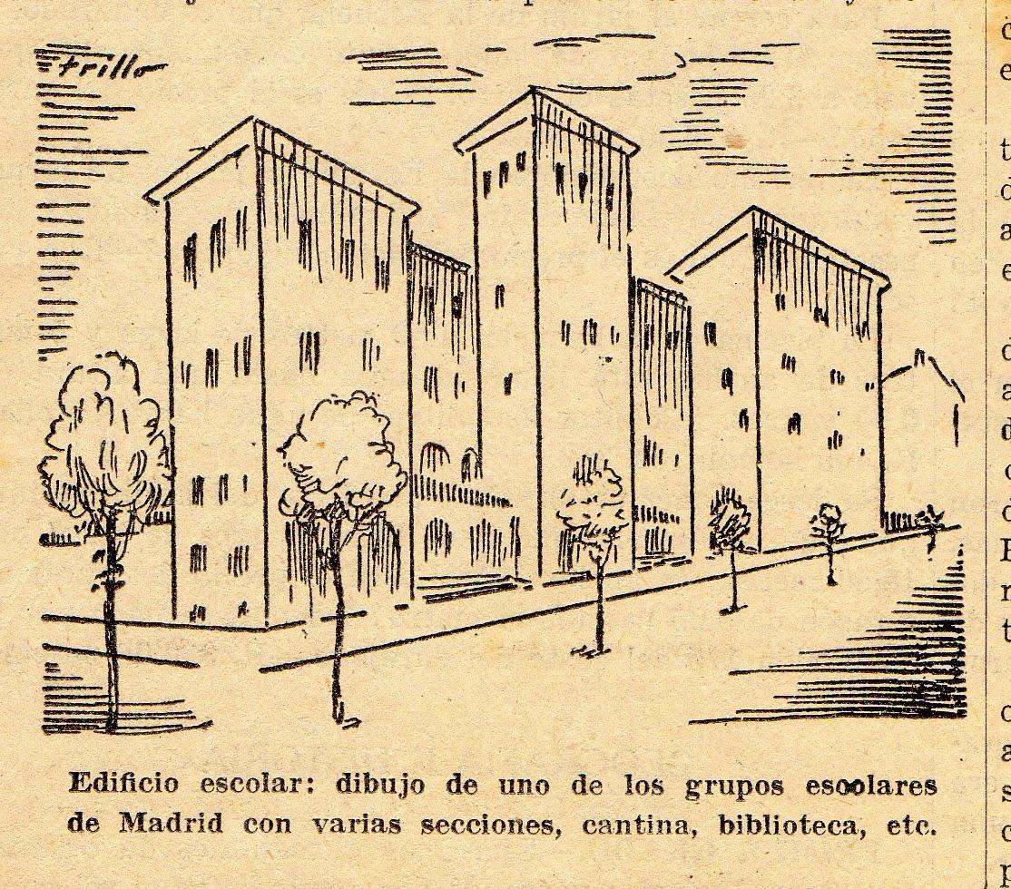 Edificio escolar. dibujo de uno de los grupos escolares de Madrid con varias secciones, cantina, biblioteca, etc.