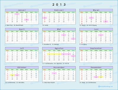Kalender 2013 dan Hari libur Nasional Indonesia 2013