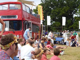 london bus in a field