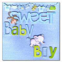 baby boy scrapbook page blue elephant monkey safari