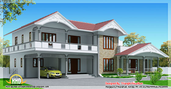 Sloped roof house in Kerala style - 2990 Sq. Ft. - May 2012