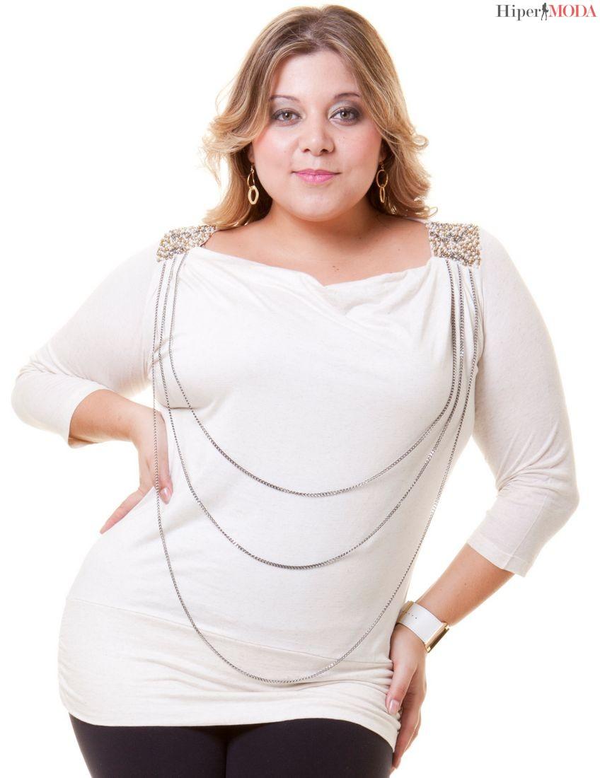 camisa manga comprida branca para gordinha