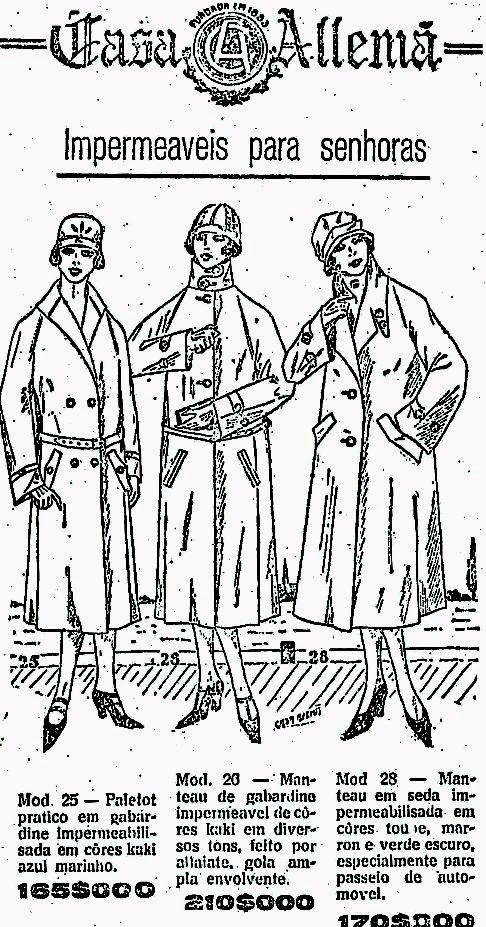 Propaganda da Casa Alemã (SP) com ofertas de capas impermeáveis.
