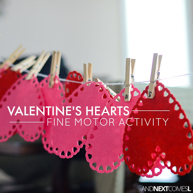 Valentine's Day themed fine motor activity for kids from And Next Comes L