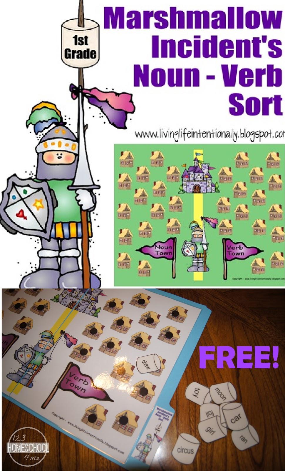 FREE Marshmallow Noun Verb File Folder Game