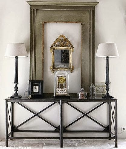 beautiful gold and white traditional style console table vignette