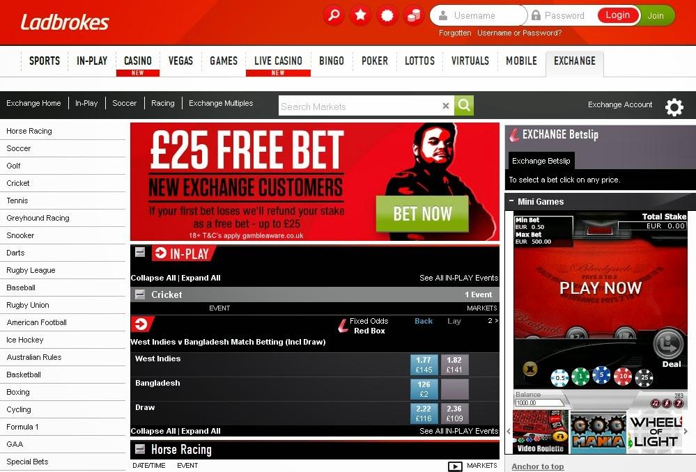 Ladbrokes Exchange Screen