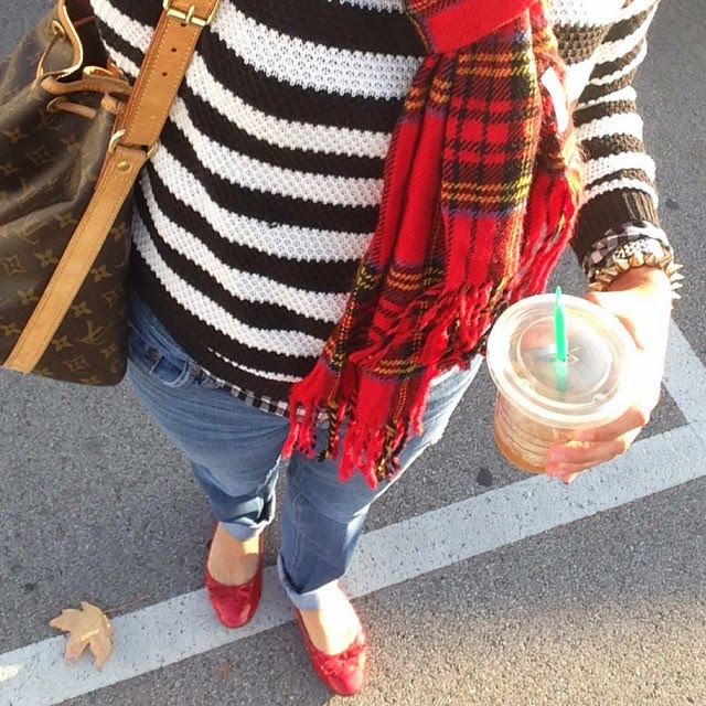 black & white stripes, with red plaid