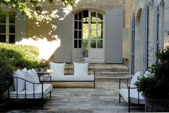 Vicky archer outdoor living author interview exterior for French country courtyard