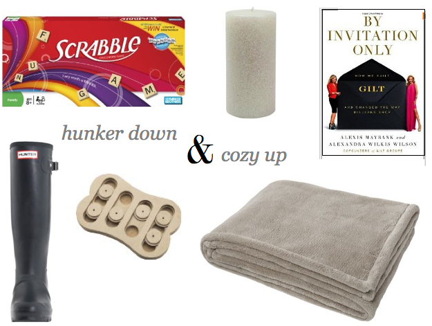 hurricane prep, blanket, cozy throw, puzzle toy for dogs, Hunter rain boots, glitter candles, Scrabble