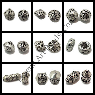 Oxidize sterling silver filigree beads