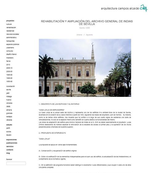 Arquitectura campos alcaide nueva p gina web - Escuela tecnica superior de arquitectura sevilla ...