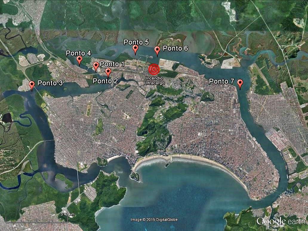 Mapa com os pontos onde foram coletadas amostras de água.