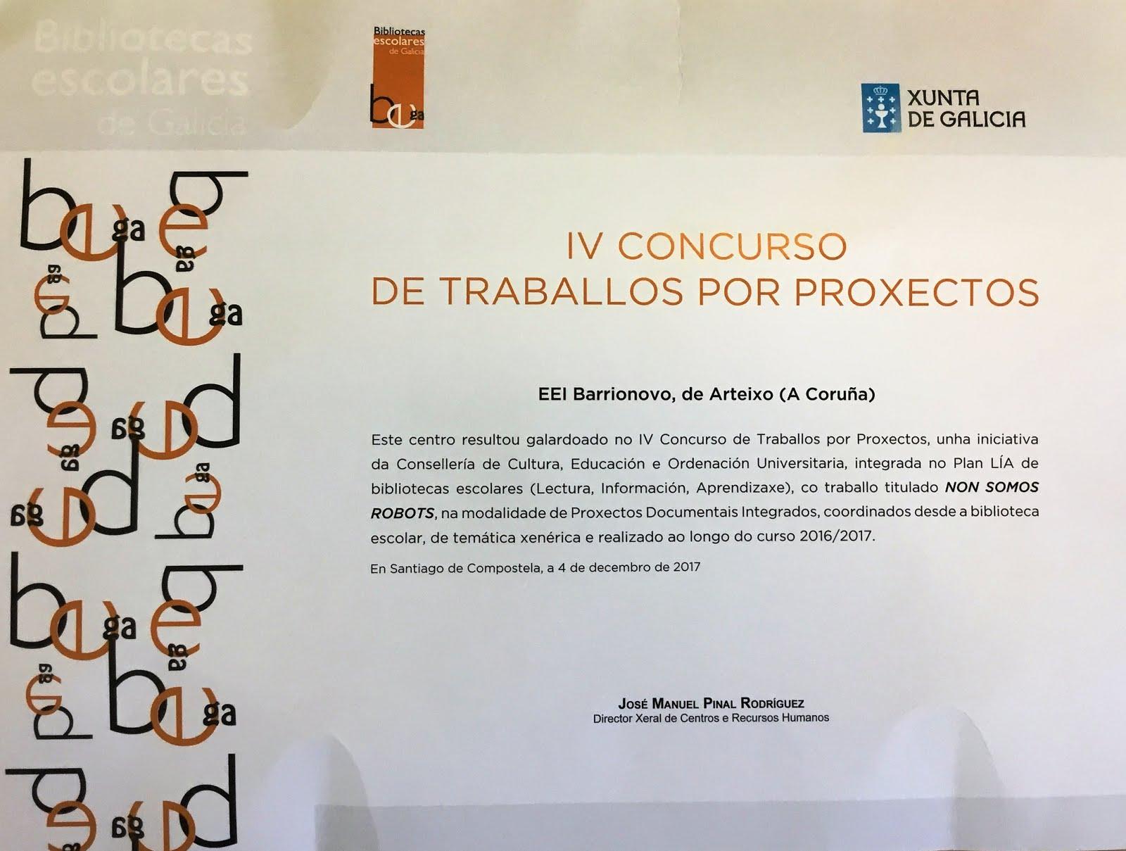 PREMIO IV CONCURSO DE TRABALLO POR PROXECTOS