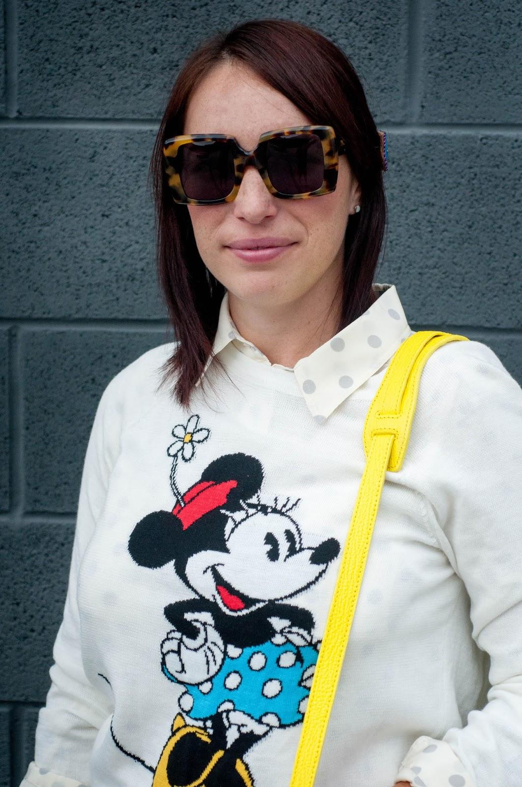 karen walker sunglasses, karen walker bestsy, minnie mouse pullover sweater, minnie mouse, jcrew polka dot silk blouse, ootd
