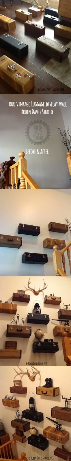 Our Vintage Luggage Wall display we created | Robin Davis Studio