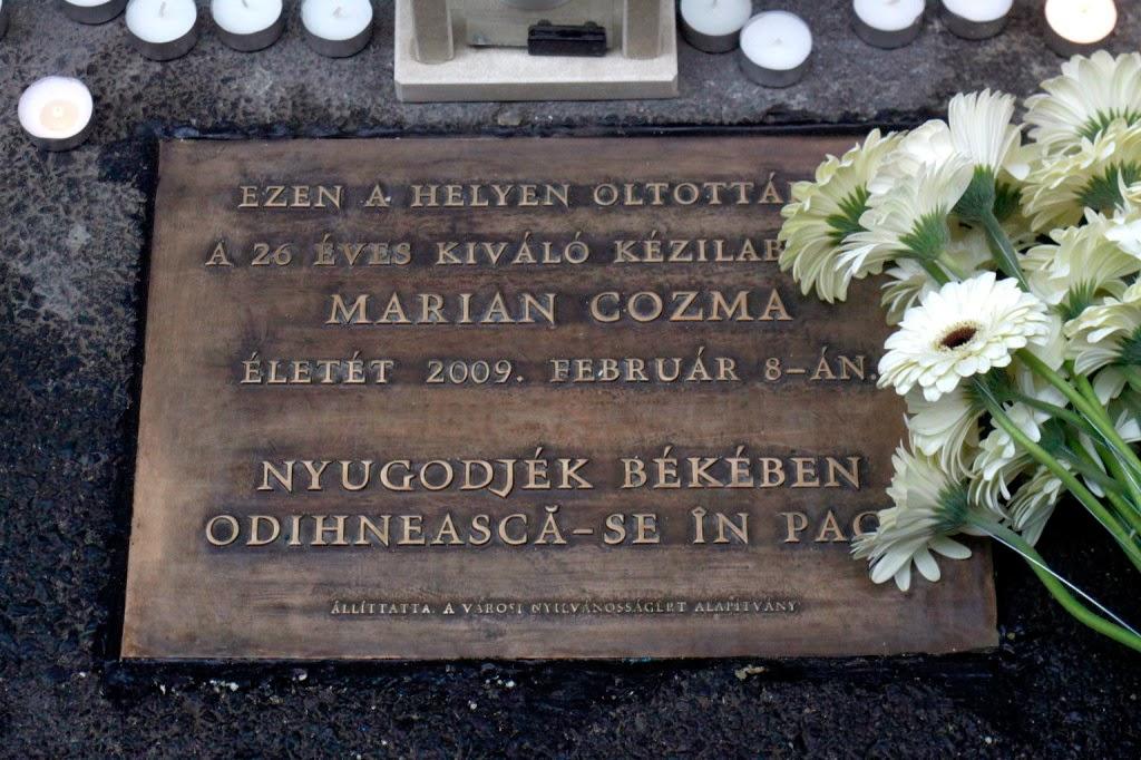 Marian Cozma, emléktábla, megemlékezés, Cozma-gyilkosság, MKB-MVM Veszprém,