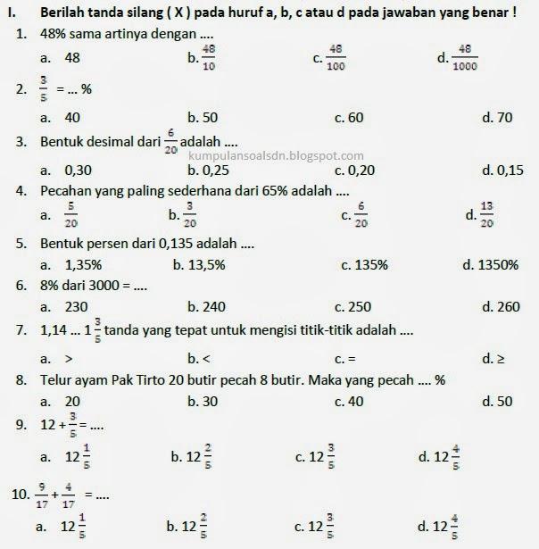 Soal Matematika UTS II Kelas 5 SD Semester 2 TA 2013\/2014 ~ Kumpulan Soal SD