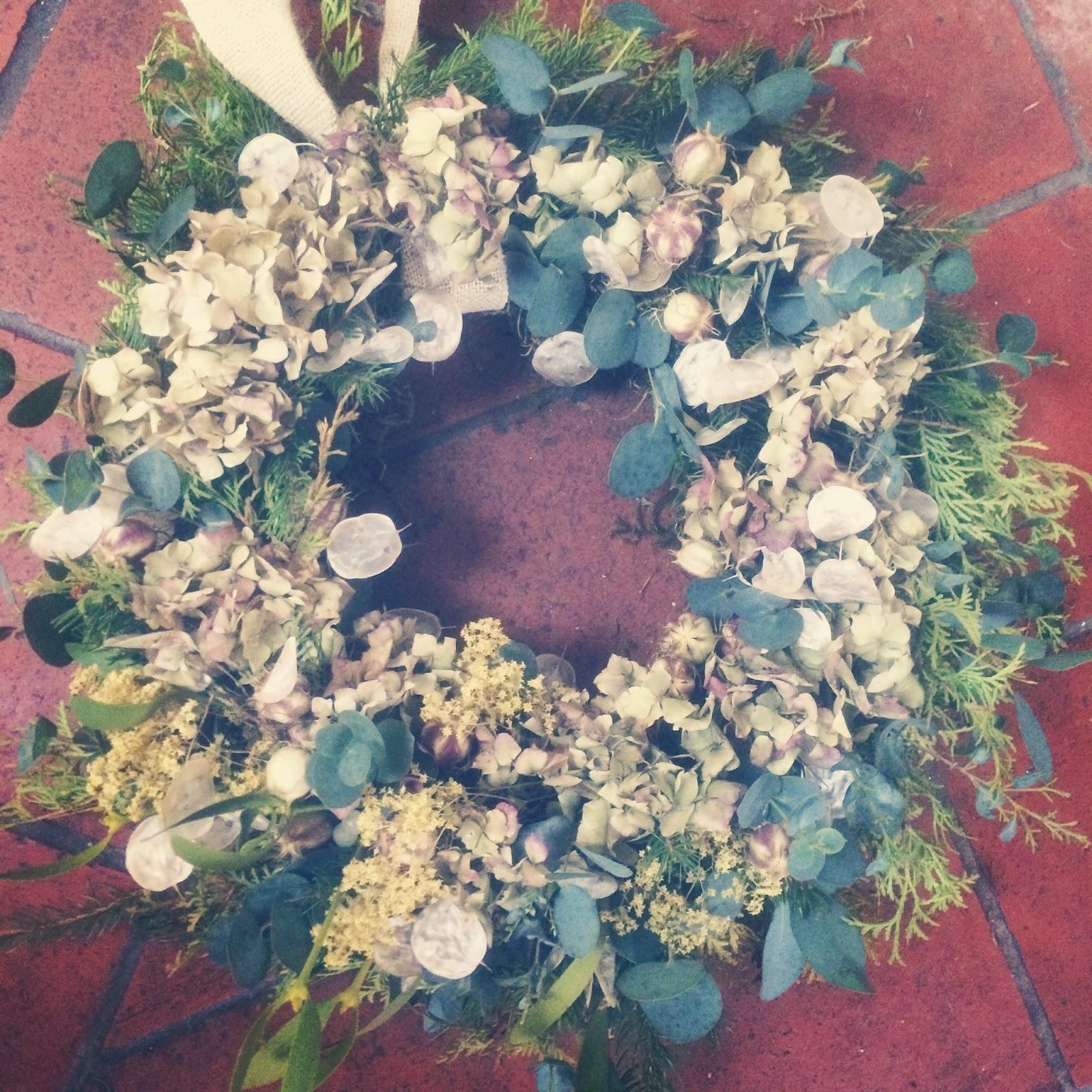 Fresh handmade wreath, Tuckshop Flowers, Birmingham