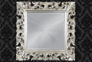 Dizajnove strieborne zrkadlo na stenu v barokovom style